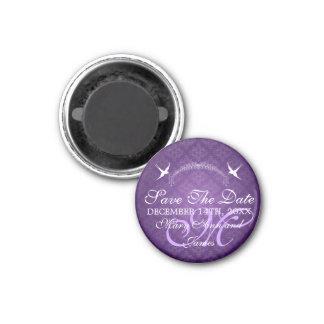 Elegantes Save the Date Vogel-Monogramm lila Magnets