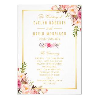 Elegantes schickes Blumen-DIY Hochzeits-Programm 12,7 X 17,8 Cm Einladungskarte