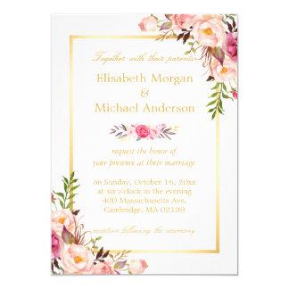 Elegantes schickes mit Blumengoldweiße formale 12,7 X 17,8 Cm Einladungskarte