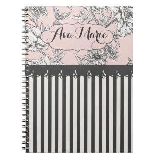 Elegantes schickes rosa und schwarze notizblock