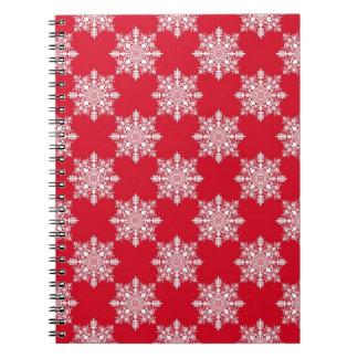 Elegantes Schneeflocke-Muster-rotes und weißes Spiral Notizblock