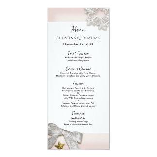 Elegantes Schneeflocke-Winter-Hochzeits-Menü Karte