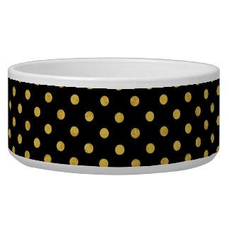 Elegantes Schwarz-und Goldfolien-Tupfen-Muster Napf