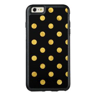 Elegantes Schwarz-und Goldfolien-Tupfen-Muster OtterBox iPhone 6/6s Plus Hülle