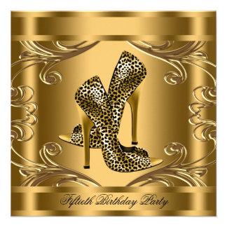 Elegantes Schwarz-und Goldgeburtstags-Party Ankündigungskarte