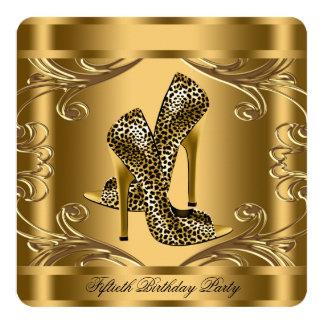 Elegantes Schwarz-und Goldgeburtstags-Party Quadratische 13,3 Cm Einladungskarte