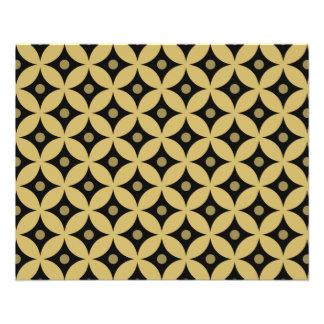 Elegantes Schwarz-und Goldkreis-Tupfen-Muster Flyer