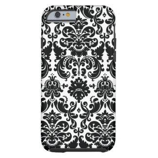 Elegantes Schwarz-weißes Damast-Muster Tough iPhone 6 Hülle