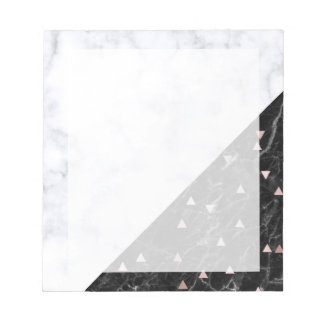 elegantes Schwarz-weißes MarmorRosengold Notizblock