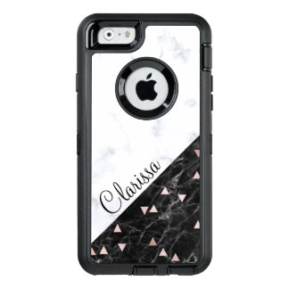 elegantes Schwarz-weißes MarmorRosengold OtterBox iPhone 6/6s Hülle