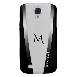 Elegantes Schwarz-weißes Silber 2, Name und Galaxy S4 Hülle