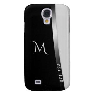Elegantes Schwarz-weißes Silber, Name und Galaxy S4 Hülle