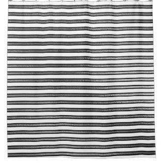 Elegantes Schwarz-weißes Silber Stripes die Duschvorhang