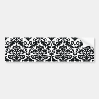 Elegantes Schwarz-weißes Vintages Damast-Muster Auto Sticker