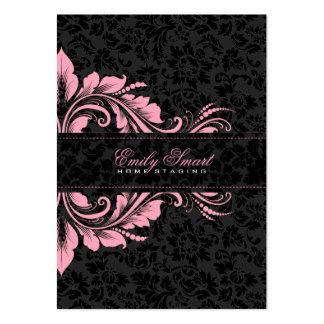 Elegantes schwarzes Damast-Rosa-Blumenverzierung 2 Mini-Visitenkarten