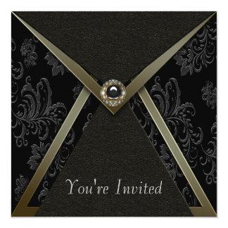 Elegantes schwarzes Damast-Schwarzes und GoldParty Quadratische 13,3 Cm Einladungskarte