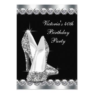 Elegantes schwarzes der Geburtstags-Party der Frau 12,7 X 17,8 Cm Einladungskarte