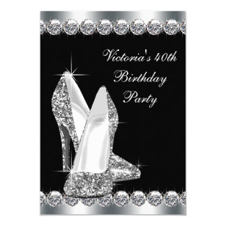Elegantes schwarzes der Geburtstags-Party der Frau Einladung