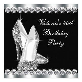 Elegantes schwarzes der Geburtstags-Party der Frau Quadratische 13,3 Cm Einladungskarte