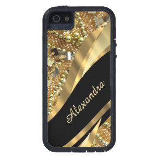 Elegantes Schwarzes des Chic und Goldbling iPhone 5 Hülle
