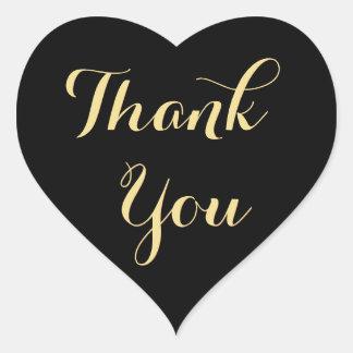 Elegantes schwarzes Gastgeschenk-Herz danken Ihnen Herz-Aufkleber