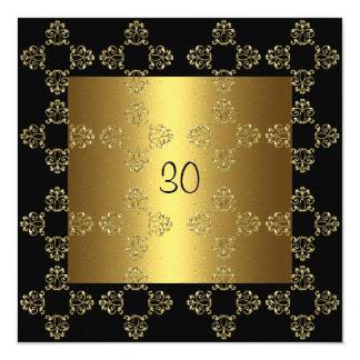 Elegantes schwarzes Gold30. Geburtstags-Party Quadratische 13,3 Cm Einladungskarte