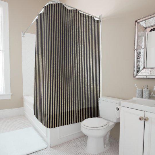 Elegantes schwarzes Goldminimale Streifen-Linien Duschvorhang