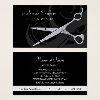 Elegantes Schwarzes kräuselt silbernen Visitenkarte