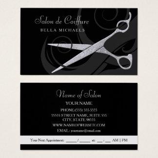 Elegantes Schwarzes kräuselt silbernen Visitenkarten