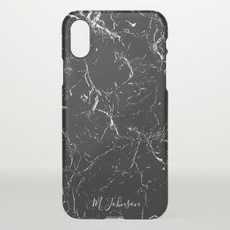 Elegantes schwarzes Marmorierungpersonalisiertes iPhone X Hülle