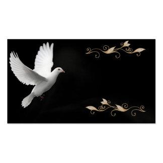 Elegantes Schwarzes mit Weiß-Tauben-Visitenkarte Visitenkarten