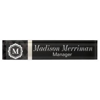 Elegantes schwarzes Monogramm Namensplakette