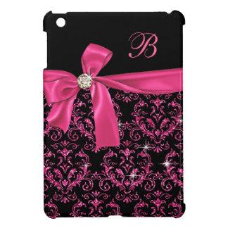 Elegantes schwarzes rosa Damast-Diamant-Bogen-Mono iPad Mini Hüllen