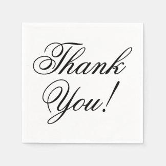 Elegantes schwarzes Skript danken Ihnen für Serviette