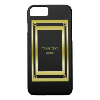 Elegantes Schwarzes u. Gold gerahmt iPhone 8/7 Hülle