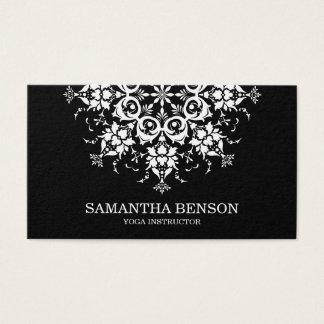 Elegantes schwarzes u. weißes Blumen-Logo-Yoga Visitenkarte