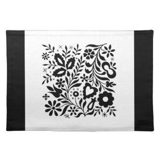 Elegantes schwarzes u. weißes mit BlumenTischset Tischset