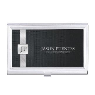 Elegantes schwarzes und silbernes berufliches Visitenkarten-Schatulle