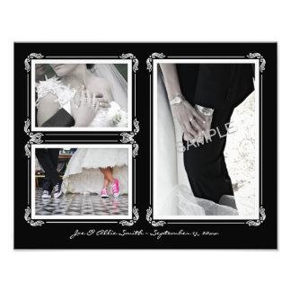 Elegantes Schwarzes/Weiß 11 x Wedding Collage des Fotodruck