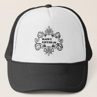Elegantes Schwarzweiss-alles Gute zum Geburtstag Truckerkappe