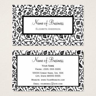 Elegantes Schwarzweiss-Blumendamast-Muster Visitenkarte