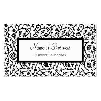 Elegantes Schwarzweiss-Blumendamast-Muster Visitenkarten