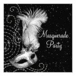 Elegantes Schwarzweiss-Maskerade-Party Personalisierte Einladungskarte