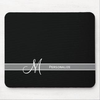 Elegantes Schwarzweiss-Monogramm mit Namen Mousepads