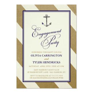 Elegantes Seemarine-u. GoldVerlobungs-Party Personalisierte Einladungskarte