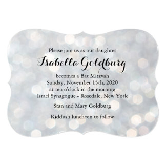 Elegantes Silber beleuchtet Schläger Mitzvah Einladungskarte