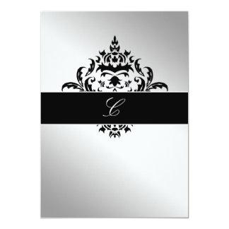 elegantes Silber des Damast-311-Simplisticly 12,7 X 17,8 Cm Einladungskarte