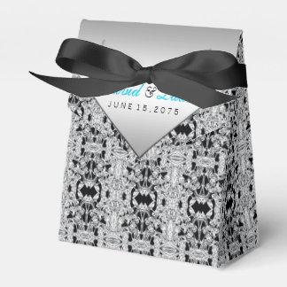 Elegantes Silber und aquamarine blaue Hochzeit Geschenkkartons