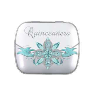 Elegantes Silber und aquamarine blaue Quinceanera  Jelly Belly Dosen