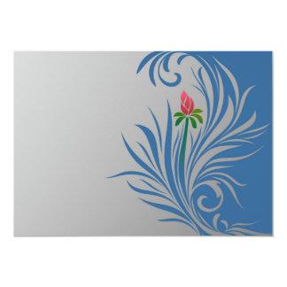 Elegantes Silber und Blau mit Roseneinladungen 12,7 X 17,8 Cm Einladungskarte
